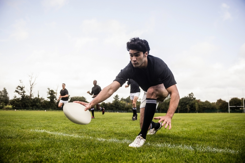 Game of Rugby on Grass